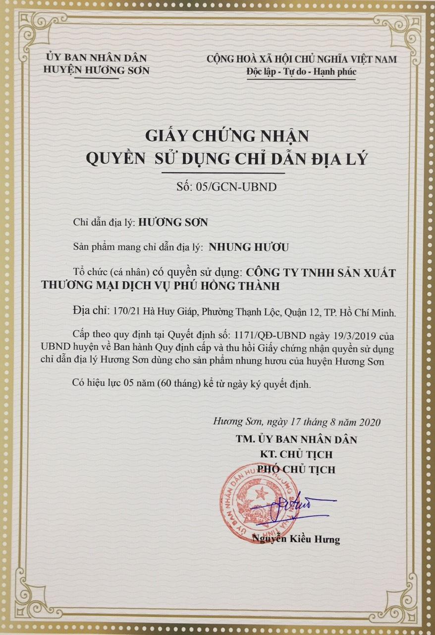 Quyền sử dụng Chỉ dẫn địa lý của sản phẩm Nhung hươu Hương Sơn của Công ty Phú Hồng Thành