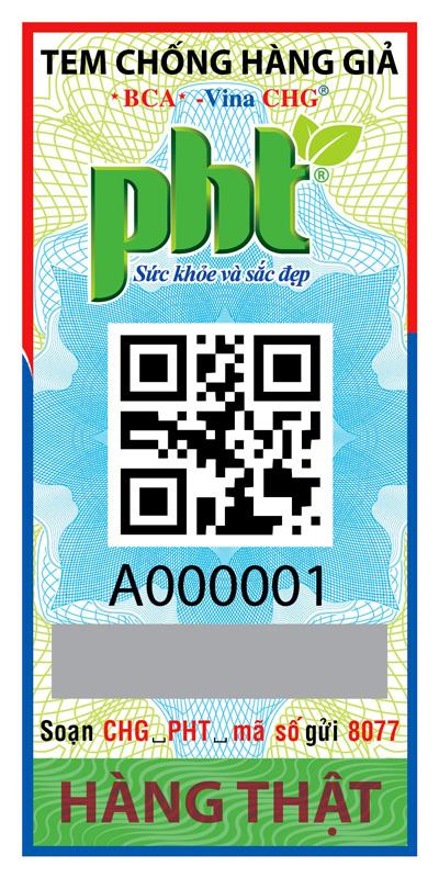 Tem chống hàng giả của Vina CHG dành cho sản phẩm của Phú Hồng Thành.